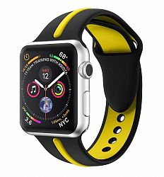 Apple Watch Silicone Line 38/40mm szíj, Black Yellow
