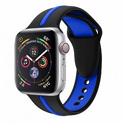 Apple Watch Silicone Line 42/44mm szíj, Black Blue