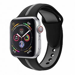 Apple Watch Silicone Line 42/44mm szíj, Black Grey