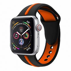 Apple Watch Silicone Line 42/44mm szíj, Black Orange