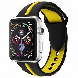 Apple Watch Silicone Line 42/44mm szíj, Black Yellow