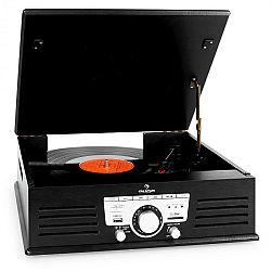 Auna 77-92B gramofon, USB, SD, AUX, FM, fekete