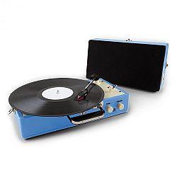 Auna Nostalgy Buckingham, koffer retró lemezjátszó, hangfal, AUX, kék