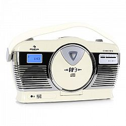 Auna RCD-70 retró rádió, FM, USB, CD, elem, krémszínű