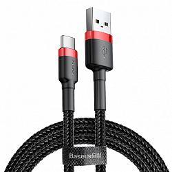 Baseus Cafule kábel USB / USB Type-C QC 3.0 1m, fekete/piros (CATKLF-B91)
