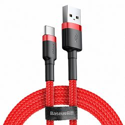 Baseus Cafule kábel USB / USB Type-C QC 3.0 2m, piros (CATKLF-C09)