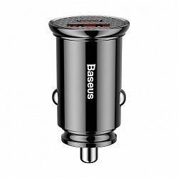 Baseus Circular USB / USB-C 30W autós töltő, fekete (CCALL-YS01)