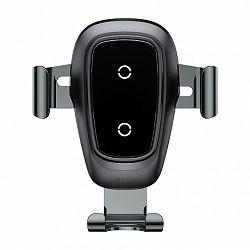 Baseus Metal Gravity autós tartó, vezetéknélküli töltő, fekete