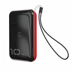 Baseus Mini S Bracket Power Bank 10000mAh, vezeték nélküli töltő Qi, piros (PPXFF10W-19)
