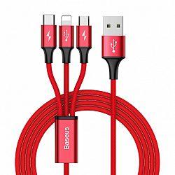 Baseus Rapid USB - micro USB / Lightning / USB-C kábel 3A 1.2m, piros (CAMLT-SU09)