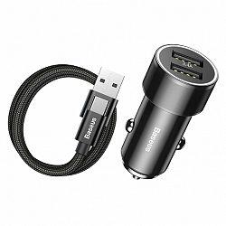Baseus Small Screw 3.4A Smart autós töltő 2x USB + USB Type-C kábel 1m, fekete (TZXLD-B01)