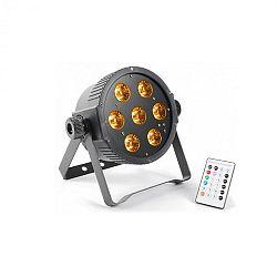 Beamz FlarPAR, 7 x 15 W, 5 az 1-ben RGBAW-LED, DMX IR, távirányító mellékelve