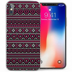 Caseflex Aztec Hearts szilikon tok iPhone X/XS, rózsaszín/fekete