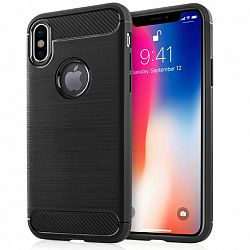Centopi Carbon Fibre TPU szilikon tok iPhone X/XS, fekete