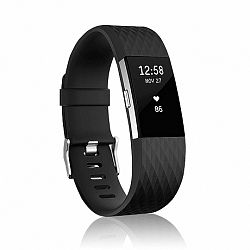 Fitbit Charge 2 Silicone Diamond (Large) szíj, Black