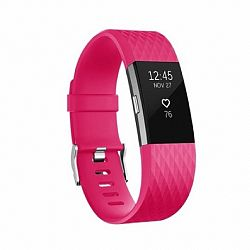 Fitbit Charge 2 Silicone Diamond (Large) szíj, Dark Pink