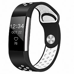 Fitbit Charge 2 Silicone Sport (Large) szíj, Black/White