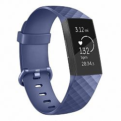 Fitbit Charge 3 Silicone Diamond (Large) szíj, Dark Blue