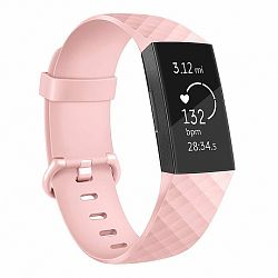Fitbit Charge 3 Silicone Diamond (Large) szíj, Sand Pink