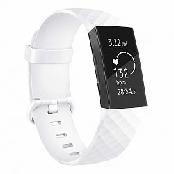 Fitbit Charge 3 Silicone Diamond (Large) szíj, White