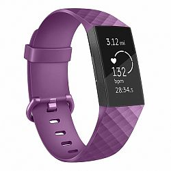 Fitbit Charge 3 Silicone Diamond (Small) szíj, Purple