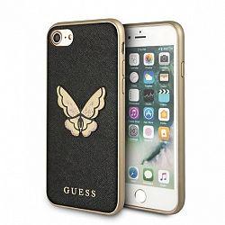 Guess műanyag tok Butterfly Saffiano iPhone 7/8, fekete/arany (GUHCI8ESPBBK)