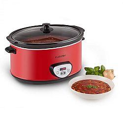 Klarstein Bankett Slow Cooker, piros, 320 W, lassú főzőedény, digitális, 6,5 liter