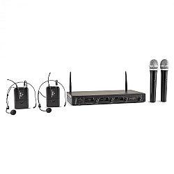 Malone Duett Quartett Fix, V2, 4 csatornás UHF vezeték nélküli mikrofon készlet, 50 m-es hatókör