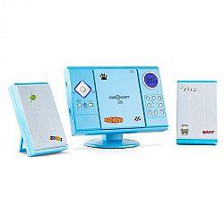 OneConcept V-12, sztereó rendszer MP3-CD lejátszóval USB SD AUX, kék, matricákkal