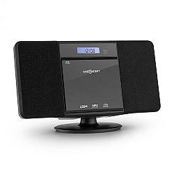 OneConcept V-13, fekete sztereó rendszer CD MP3 USB rádióval és ébresztőórával, falra szerelhető
