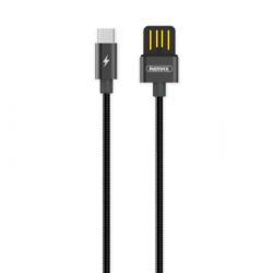 REMAX RC-080a Silver Serpent kábel USB / USB-C 2.1A 1m, fekete