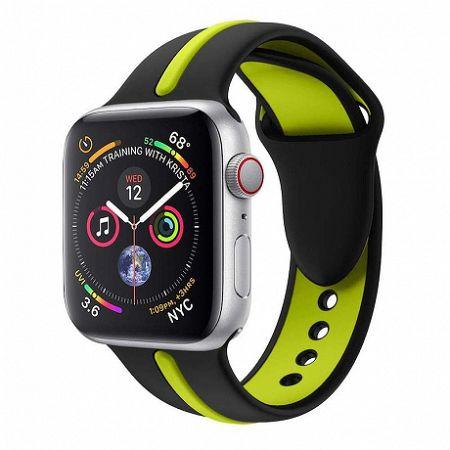 Apple Watch Silicone Line 42/44mm szíj, Black Green