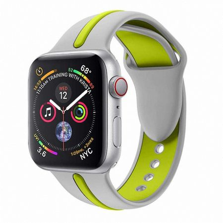 Apple Watch Silicone Line 42/44mm szíj, Gray Green