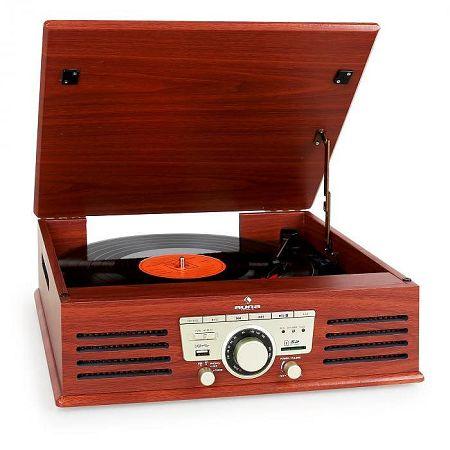 Auna 77-92W gramofon, USB, SD, AUX, FM, cseresznye színű