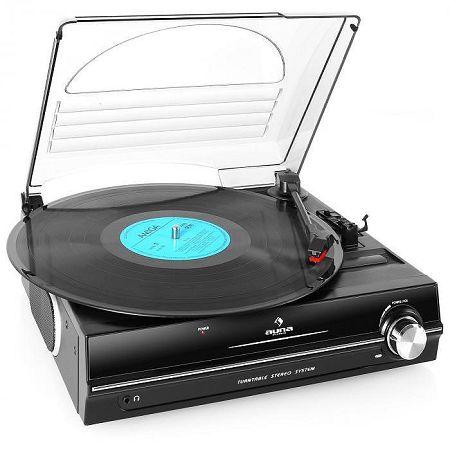 Auna 928, lemezjátszó, beépített hangfalak, 33/45 RPM