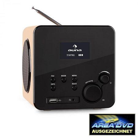 Auna Radio Gaga, internet rádió, WLAN/LAN, DAB/DAB+, FM, USB, AUX, tölgyfa
