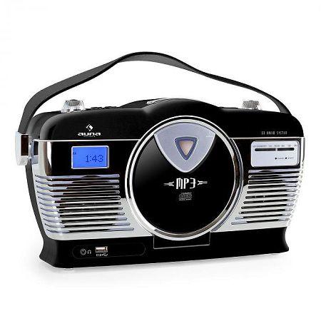Auna RCD-70 retró rádió, FM, USB, CD, elem, fekete
