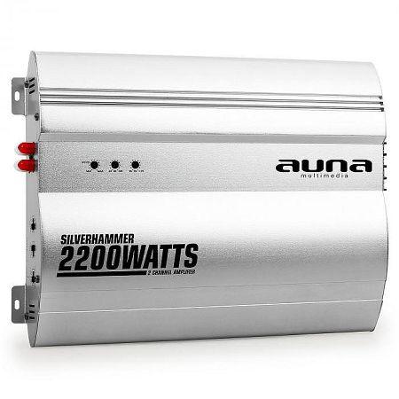 Auna Silverhammer 2-csatornás erősítő autóba, 2200 W, ezüst
