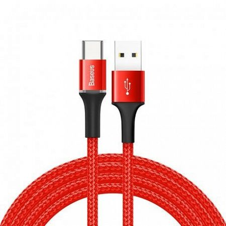 Baseus Halo kábel LED világító USB / USB-C 2A 2m, piros