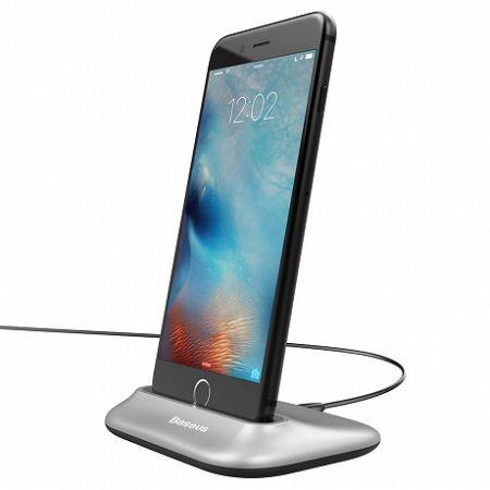 Baseus Little Volcano asztali dokkoló Lightning, USB kábel 1m, ezüst (ZCVL-0S)