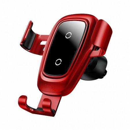 Baseus Metal Gravity autós tartó vezeték nélküli töltővel, piros (WXYL-B09)