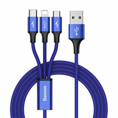 Baseus Rapid USB - micro USB / Lightning / USB-C kábel 3A 1,2m, kék (CAMLT-SU13)