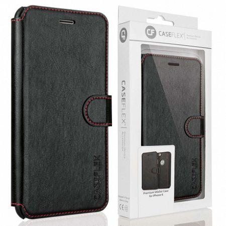 Caseflex bőrtok Leather Wallet iPhone 6/6s Fekete/Piros