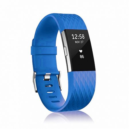 Fitbit Charge 2 Silicone Diamond (Large) szíj, Blue