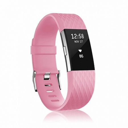 Fitbit Charge 2 Silicone Diamond (Small) szíj, Pink
