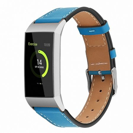 Fitbit Charge 3 Leather Italy (Large) szíj, Blue