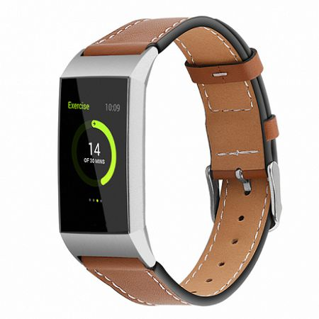 Fitbit Charge 3 Leather Italy (Large) szíj, Coffee