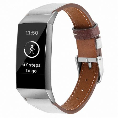 Fitbit Charge 3 Leather Italy (Large) szíj, White