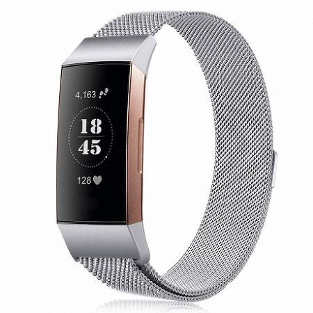 Fitbit Charge 3 Milanese (Large) szíj, Silver