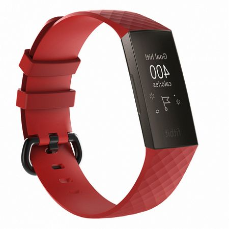 Fitbit Charge 3 Silicone Diamond (Large) szíj, Red